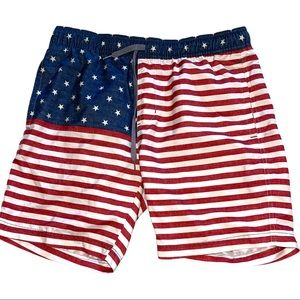 Goodfellow American Flag Swim Trunks